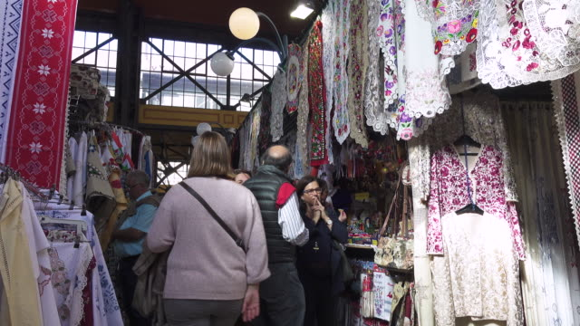 Traditional cloth shops at Budapest Central Market Hungary