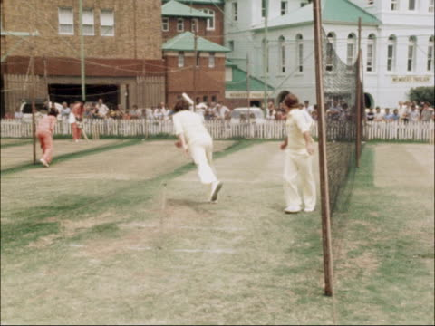 Traditional cricket under threat AUSTRALIA EXT West Indies and Australia cricketers on training pitch / Australian bowler practising in nets / West...