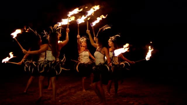Traditional Hawaiian Fire Hula Dancers