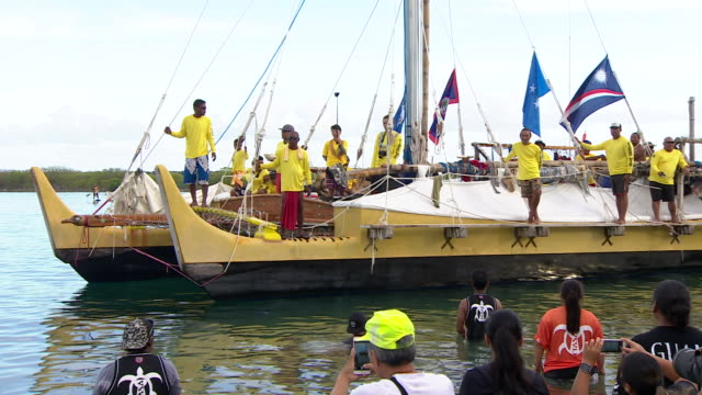 Traditional sailing vessels arriving in Guam for the 12th Festival of Pacific Arts