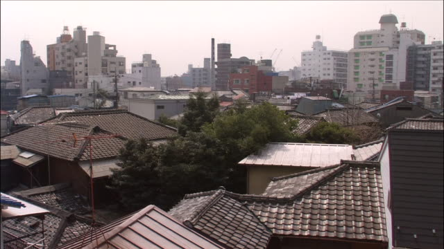 Traditional Shitamachi house roofs in foreground stretching out to modern tall buildings in distance