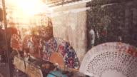 Traditional Spanish flamenco abanico fans shop