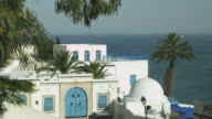 Traditional Tunisian house overlooking the Mediterranean.