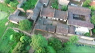 traditional village in the Fuzhou city aerial view near sunset
