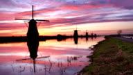 Traditional windmills at sunrise, Kinderdijk, The Netherlands