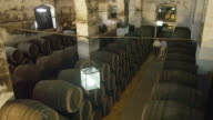 HA traditional wine cellar with two winemakers entering a corridor between stacks of casks walking towards the camera, stopping in center frame and engaging in conversation