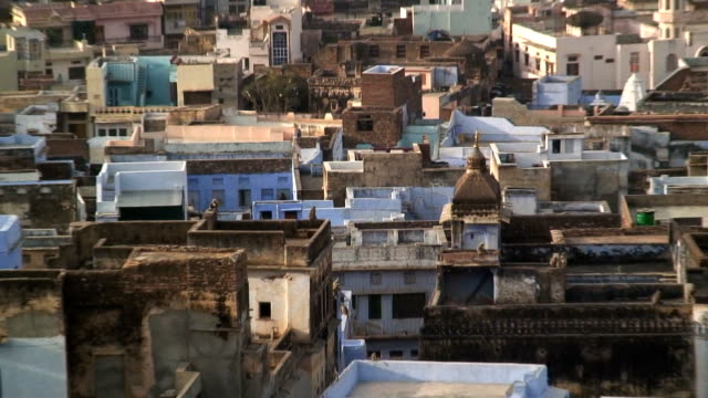 Traditionally built homes and buildings stretch to the horizon in Bundi, India.