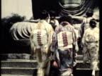 MS PAN CU Traditionally dressed pilgrims visiting Hachimon Temple / Kamakura, Japan / AUDIO