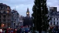 Trafalgar Square, London with Christmas Tree