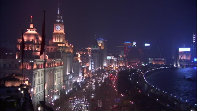 HA WS Traffic along waterfront at night/ Shanghai, China