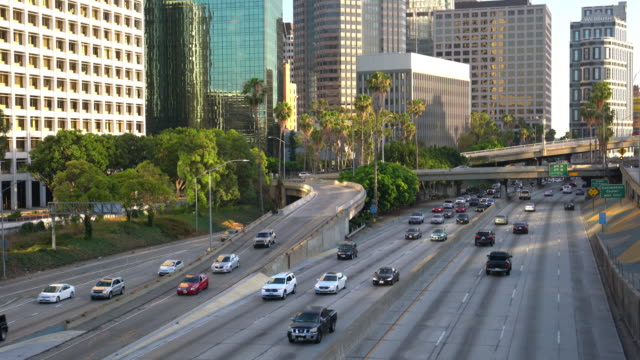 Traffic and downtown Los Angeles California