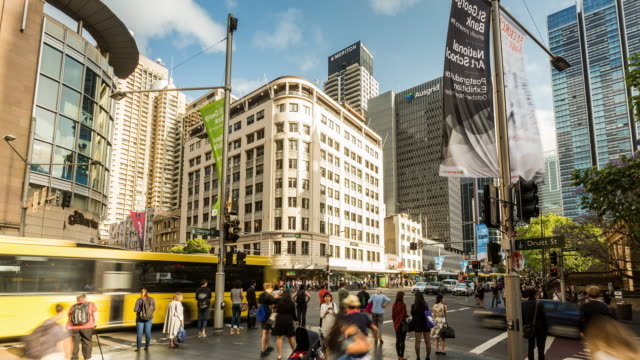 Traffic and people Timelapse of Sydney CBD with shadows moving fast