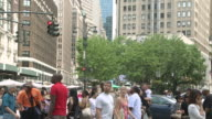 MS Traffic and people walking in Herald Square / New York, New York, United States