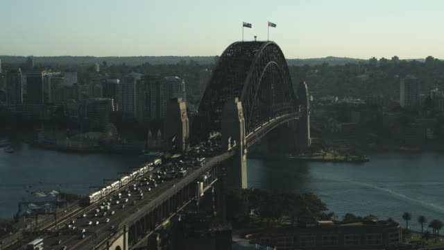 WS HA Traffic and trains on Sydney Harbor Bridge / Sydney, New South Wales, Australia