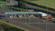 AERIAL, ZO, Traffic at M6 Toll and motorway, Birmingham, England