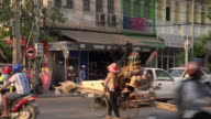 Traffic at Old Market area in downtown Siem Reap