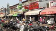 Traffic at Old Market in downtown Siem Reap