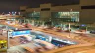 T/L WS HA Traffic at the Los Angeles International Airport at night / Los Angeles, California, USA