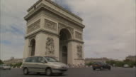 Traffic circles around the Arc de Triomphe in Paris. Available in HD.