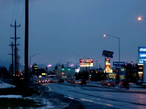 T/L traffic, Dimond Mall at dawn, Anchorage, Alaska, USA