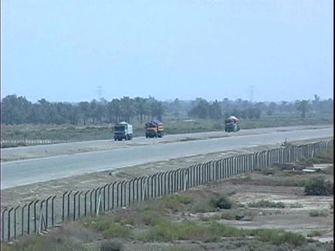 Traffic driving on Route Tampa highway / Baghdad Iraq / AUDIO