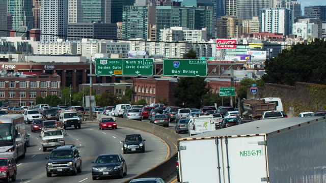 T/L Traffic going in and out of town transition day to night / San Francisco