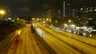 Traffic in downtown Hong Kong at night, panning right time lapse.