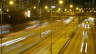 Traffic in downtown Hong Kong at night,panning left time lapse.