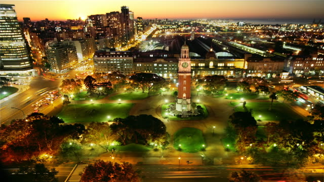 T/L, WS, HA, Traffic in Retiro with Torre de los Ingleses, day to night, Buenos Aires, Argentina