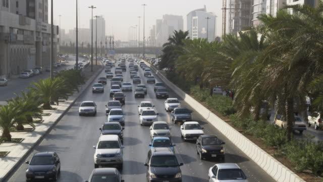 Traffic in Riyadh city centre, Saudi Arabia.