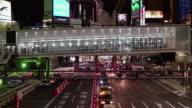 Traffic in Shibuya at night,Tokyo,Japan