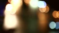 Traffic jam at night with defocused light mode