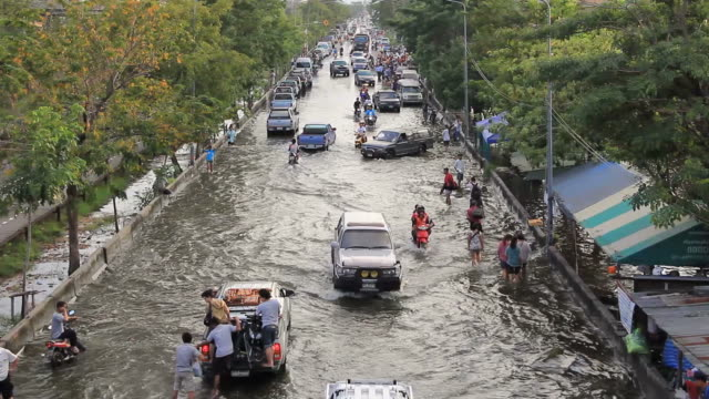 Traffic jam from flood situation.