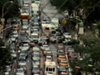 Traffic jam in street during citywide blackout on August 14 2003 / New York New York USA / AUDIO