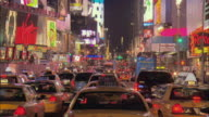 MS, Traffic jam in Times Square at night, New York City, New York, USA