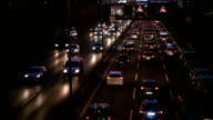 Traffic Jam on Highway at night, Real Time