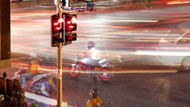 Traffic light and motorcycle in Bangkok, Thailand
