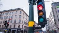 Traffic Light Intersection In Stockholm, Sweden