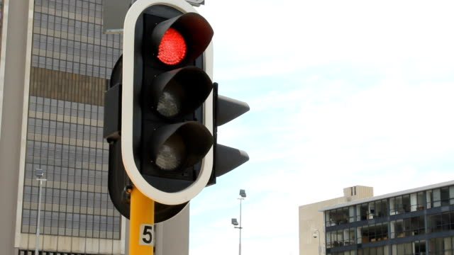 LA CU Traffic Light - Red turning to Green, Cape Town, South Africa