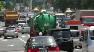 Traffic moves along a road in Tokyo Japan on Monday June 2 Exhaust pipes are seen on a vehicle sitting in traffic in Tokyo Japan on Monday June 2 2014