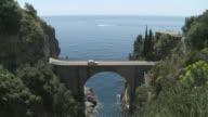 WS Traffic moving on Fiordo di furore at Amalfi coast / Furore, Campania, Italy