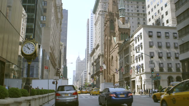 WS Traffic moving on street at city / Manhattan, New York City, New York State, United States