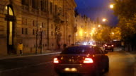 Traffic near National theatre in Prague,by night
