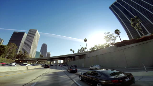 WS POV Traffic On A Highway In Los Angeles