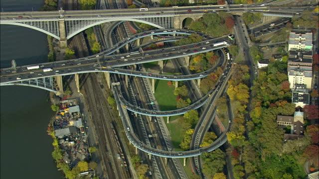 AERIAL MS Traffic on Alexander Hamilton Bridge and Cross Bronx Expressway / New York City, New York, USA