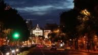 WS Traffic on avenue at dusk / Madrid, Spain