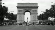 Traffic on Avenue des Champs-Elysees with tilt-shift lens, Paris, France