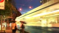 T/L, MS, Traffic on Bahnhofstrasse at dusk, Zurich, Switzerland