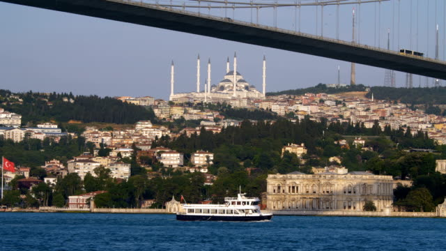 Traffic on Bosphorus bridge in front of Camlica Mosque