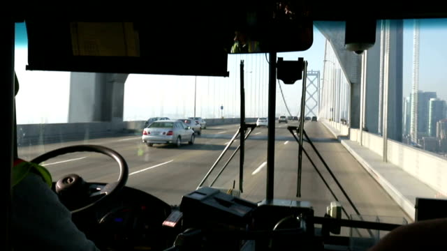 traffic on bridge from moving bus